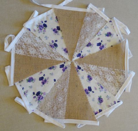 BUNTING - Hessian Burlap - Purple & Lilac Roses - White Lace - 10m/32ft